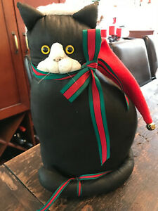 Christmas Cat Plush Decoration OOAK Black Cat in Santa Hat & Red Green Bows 14""