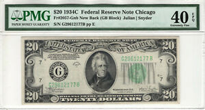 1934 C $20 FEDERAL RESERVE NOTE CHICAGO FR.2057-Gnb NEW BACK PMG XF EF 40 EPQ