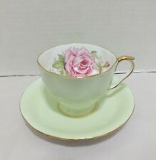 AYNSLEY CABBAGE ROSE GREEN CUP and SAUCER