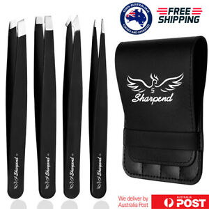 Professional Eyebrow Tweezers Set Plucker Puller Slanted Pointed Tip Manicure