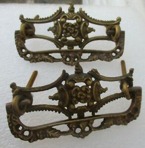 """PAIR of NEW OLD STOCK ORNATE VICTORIAN STYLE DRAWER PULLS 3 3/4"""" wide 3"""" on ctr"""