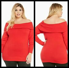 NWT Torrid Plus Size 2X Red Foldover Collar Sweater Off the Shoulder (ggg91)