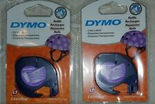 2 GENUINE Clear Dymo Letratag Tapes