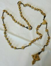 Antique carved Rosary Beads Dagron Stanhope Cross Image of Mary Our Lady vintage