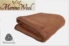 100% Manta Lana de Merino Camello Rey Manta 200 X 200cm Woolmark