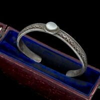 Antique Vintage Art Deco 925 Sterling Silver Moonstone Woven Cuff Bracelet 24.1g