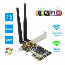 Dual Band 2.4G/5G PCI-E WiFi Wireless Card Adapter 600Mbps For Computer Desktop