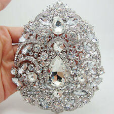 "Bride 4.92"" Flower Drop Pendant Bridesmaid Brooch Pin Clear Rhinestone Crystal"