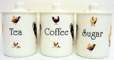 Free Range Tea Coffee Sugar Canisters Bone China Chickens Jars Set Hand Decor UK