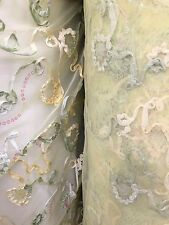 LIGHT YELLOW FLORAL SEQUIN STRETCH LACE FABRIC (60 in.) Sold By The Yard