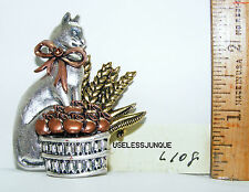 SILVER PLATED CAT WITH BASKET OF APPLES AND WHEAT PIN BROOCH  # L 108