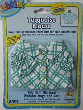 x TURQUOISE BLOUSE TOP fits most WEBKINZ pet dog cat CLOTHING new CODE