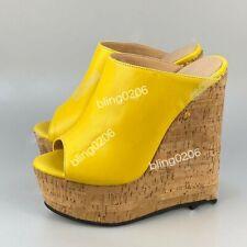 2021 Sommer Pantolette High Heels Damen Schuhe Sandalen Plateau Wedge Holz-Optik
