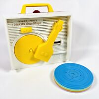 Genuine Vintage Fisher Price Music Box Record Player Working With All 5 Records