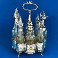 Rare GEORGE III OLD SHEFFIELD PLATE CRUET STAND c1780 With Matched Bottles A/F