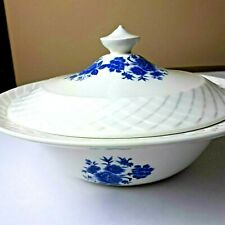 Enoch Wedgwood Blue Rose Ironstone Covered Dish (Tunstall) Vintage