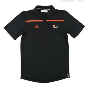 Miami Hurricanes Adidas Black Climalite Performance Coaches Polo Shirt NEW!