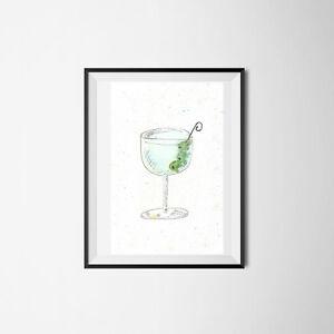 Gin Martini Cocktail Glass Watercolour Illustration & digitally Printed WallArt