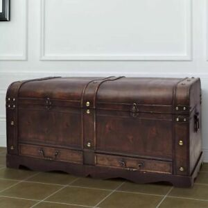 vidaXL Vintage Large Wooden Treasure Chest Brown Pirate Colonial Storage Trunk