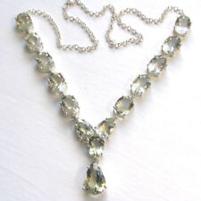 Statement Green Amethyst Necklace set in Sterling Silver