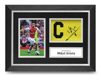Mikel Arteta Signed A4 Framed Photo Captains Armband Display Arsenal Autograph