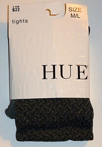 Hue Shimmer Herringbone Tights With Control Top Color: Steel - #14046 Sz M/L