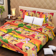 Pure Cotton Double Bed Sheet With 2 Pillow Covers-  Platinum chhota bheem