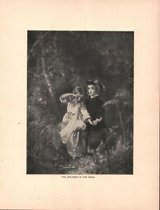 Vintage Art Print - Lithograph - The Children in the Wood - 1892 - 2 Pcs