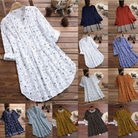 Women V-Neck Pleated Linen Baggy Tunic Blouse Long-Sleeve Casual Tops T-Shirts