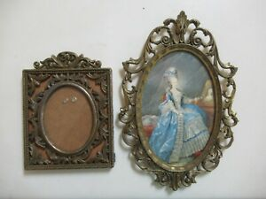 Set of 2 Vintage Ornate Metal Picture Frames Made in Italy - 1 Has Image in It