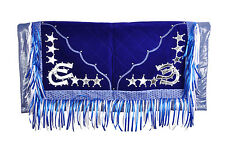 Western Barrel Show Rodeo Style Saddle Pad With Matching Fringes-Blue