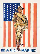 PROPAGANDA ENLIST RECRUIT US MARINE CORPS FLAG USA ART POSTER PRINT LV6990