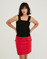 Oliver Bonas Women Frill Strap Black Knitted Top