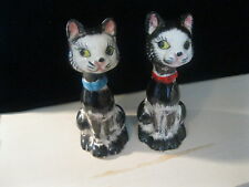 "Vintage Cat Salt & Pepper Shakers Japan Black & White Cats 4.75"" Tall"