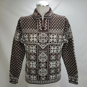 Dale of Norway Womens 100% Wool Fair Isle Peace Sweater Size Small Brown 1/4 Zip