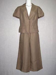 ANN TAYLOR LOFT Brown Wide Leg Cropped Pant Suit SZ 6 - 2 NEW