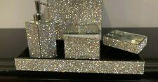4Pc BELLA LUX Full Rhinestone Crystal Iridescent Soap Jar Tray Bath Set Luxury