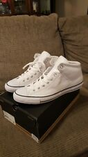 Mens Converse Chuck Taylor All Star Leather CTAS HI STREET sz9.5M WHITE (NIB)