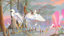 """HERON & SPOONBILL, """"COLORS IN THE LAGOON"""" DIPTYCH 11x17 Lithographs by Bob Jenny"""