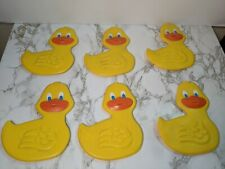 Vtg lot 6 Duck Bath Tub Shower Treads Non-Slip Yellow Rubber Duck Fun Wall Art