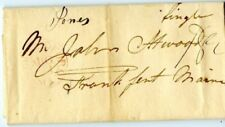 Usa Stampless Cover: 1841 New Bedford Ma>Frankfort Me John Atwood Price too High