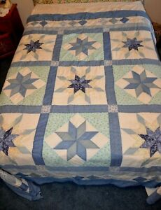 "Blue & White Vintage Star  Quilt 83"" x 84""   Double/Queen"