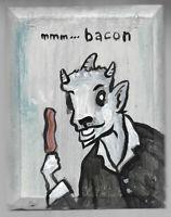 N. Scott Carroll Billy Goat Devil Pan BACON wood folk pop lowbrow art painting