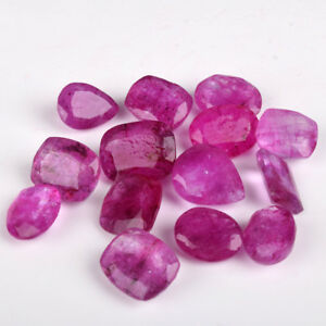 Natural Pink Ruby Loose Gemstones Lot, Faceted Mix Cut Ruby Stone 80 Ct./10 Pcs