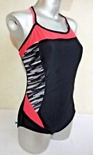 Ladies Black Sport Swimming Costume Tummy Control Padded Cup Swimsuit Lycra UK20