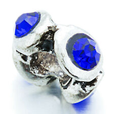5Pcs Silver Round Blue Crystal Charm Spacer Stopper Beads Fit European Bracelet