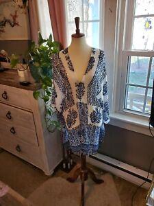 Vince Camuto Women's Blouse Beige Size 2X Plus Floral Sheer Tunic