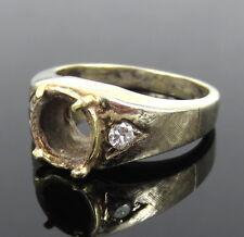 Vintage 0.15ct Old Diamond 18K White & Yellow Semi Mount Ring for 1.5ct Round