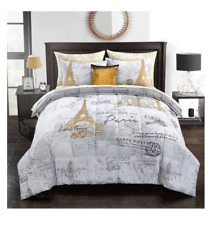 New King Size Bed in a Bag Pairs Eiffel Tower Comforter Set Sheets Girls Bedding