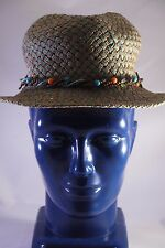 Route 66 Straw Hat Womens with Brim~Size Small~Beige & Blue~Beaded Braid~NWOT